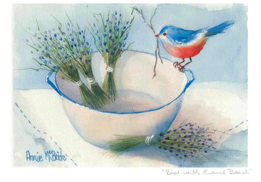 """Bird with Enamel Bowl"" A4 Print"