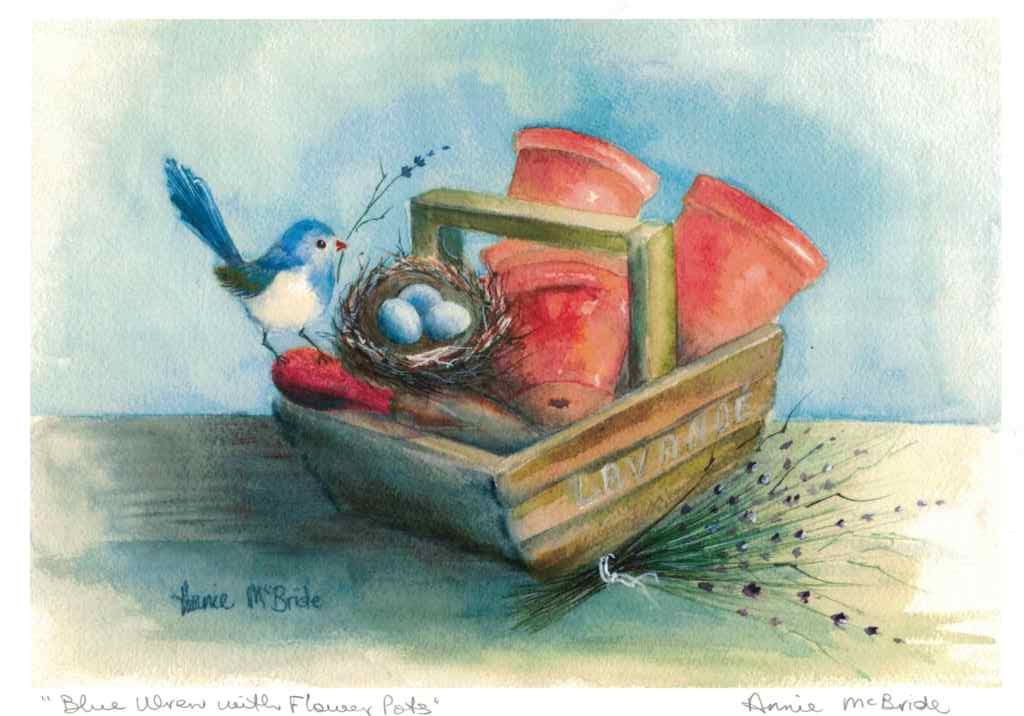 """Blue Wren with Flower Pots"" A4 Print"