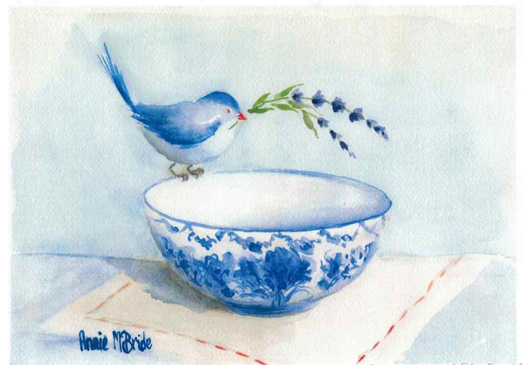 """Blue Wren with Blue Bowl"" A4 Print"
